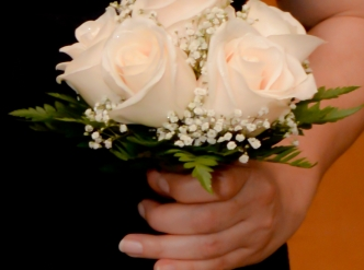 6 rose hand tied bridal bouquet with fresh white roses.
