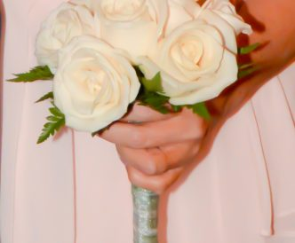 9 rose hand tied bridal bouquet with white roses.