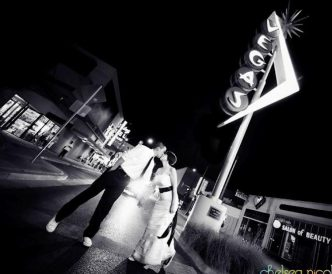 Neon Boneyard Wedding Photography: black and white stylized.