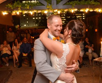 Just married couple celebrates with their first dance, after getting married in the Gazebo.