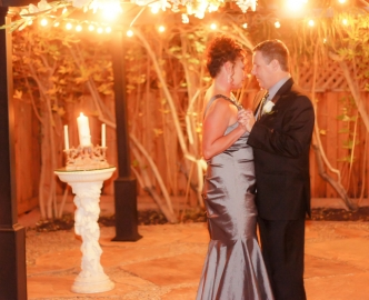 Outdoor Wedding in Gazebo at nighttime.