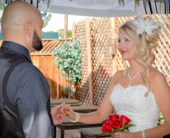 Daytime wedding in the Gazebo at Mon Bel Ami Wedding Chapel.