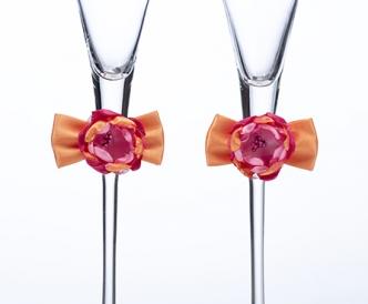 Hot Pink & Orange Toasting Glasses