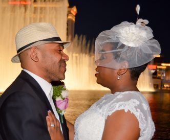 Wedding photography on the Vegas Strip: romantic view for couple at night on Las Vegas Strip.