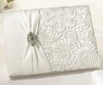 Creme Lace Guest Book Set