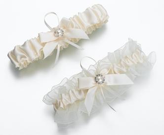 Ivory Lace Jeweled Garter
