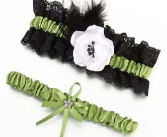 Green & Black Garter Set