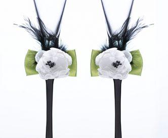 Green & Black Toasting Glasses