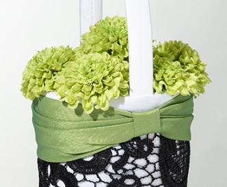Green & Black Flower Basket