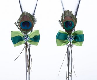 Peacock Feather Toasting Glasses