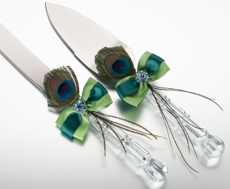 Peacock Feather Knife and Server Set