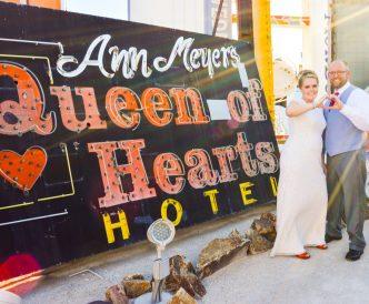 Neon Boneyard Wedding Photography: bride and groom by Queen of Hearts.