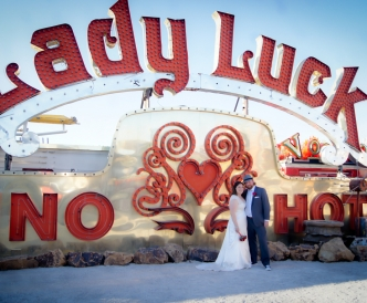 Neon Boneyard Wedding Photography: dip kiss by Lady Luck.