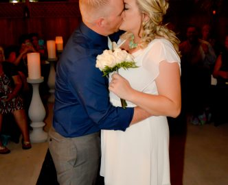 First kiss as husband and wife in Le Pavilion wedding venue.