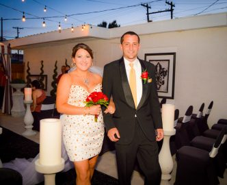 Just married at dusk, outdoors on the Las Vegas Strip in Le Pavilion venue.