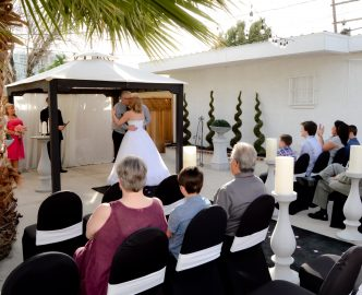 An outdoor wedding on the Las Vegas Strip in Le Pavilion at Mon Bel Ami Wedding Chapel.