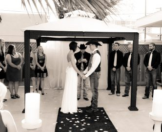 Another outdoor wedding on the Las Vegas Strip in Le Pavilion at Mon Bel Ami Wedding Chapel.