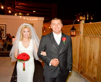 Pavilion wedding at night, outdoors on the Las Vegas Strip.