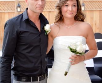 Just married couple exit Le Pavilion at Mon Bel Ami Wedding Chapel on the Las Vegas Strip.