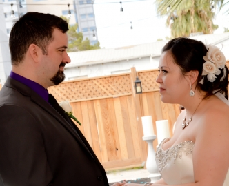 Daytime outdoor wedding under Le Pavilion on the Las Vegas Strip.