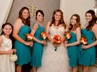 Posed wedding photography: bridal party.