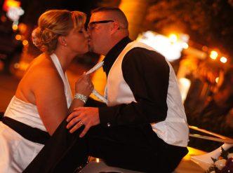 Posed wedding photography: off-beat newlyweds.
