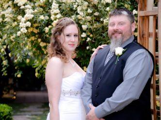 Posed wedding photography: husband and wife.