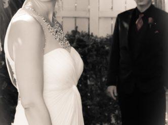 Posed wedding photography: black and white wedding couple.