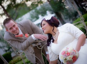 Posed wedding photography: happy young couple.