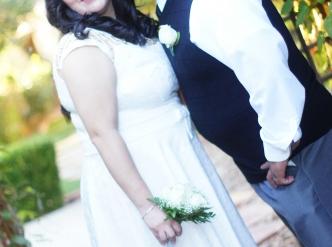 Posed wedding photography: daytime chapel garden.