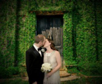 Studio Wedding Photography: newlyweds in green gardens.