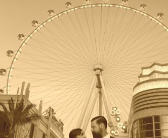 Studio Wedding Photography: couple beneath the Linq in Las Vegas, sepia.