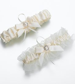 Ivory jeweled garter from cream wedding collection.