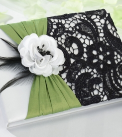 Green wedding guestbook from exclusive collection.