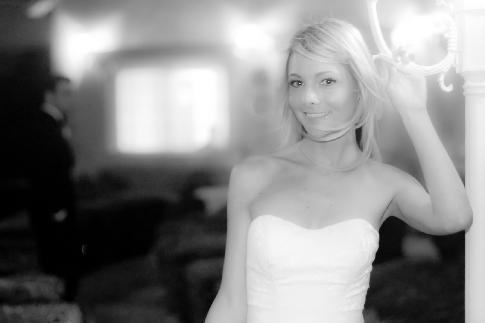 Beautiful bride poses for her wedding photos in the garden at Mon Bel Ami Wedding Chapel in Las Vegas.