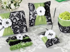 Green and Black ring pillow, flower basket, garter and memory book.