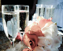 Champagne and flower centrepiece.