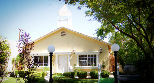 The Mon Bel Ami Wedding Chapel in Las Vegas, NV, exterior view and garden.