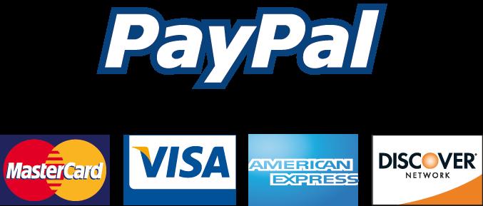 Visa, Master Card, American Express, Discover and Paypal logos.
