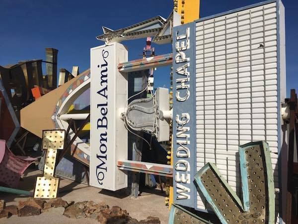 Historic Silver Bell/Mon Bel Ami sign sits in the Neon Boneyard in Las Vegas.