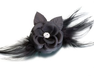 black-flower-feather-clip-pin