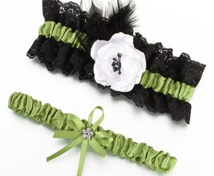 green-black-garter-set